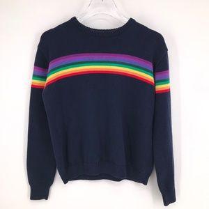 Brandy Melville Jessica Rainbow Sweater NAVY